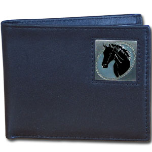 Bi-fold Wallet - Horse Head - Our bi-fold wallet is made of high quality fine grain leather with a fire fighter  emblem sculpted with fine detail on the front panel. Includes slots for credit and business cards and clear plastic photo sleeves.