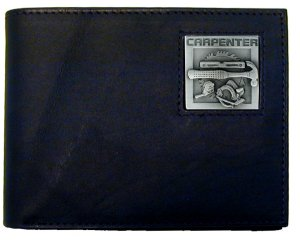 Bi-fold Wallet - Carpenter - Our bi-fold wallet is made of high quality fine grain leather with a Carpenter emblem sculpted with fine detail on the front panel. Includes slots for credit and business cards and clear plastic photo sleeves.
