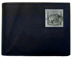 Bi-fold Wallet - Bison - Our bi-fold wallet is made of high quality fine grain leather with a Bison emblem sculpted with fine detail on the front panel. Includes slots for credit and business cards and clear plastic photo sleeves.