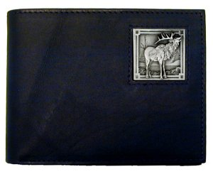 Bi-fold Wallet - Elk - Our bi-fold wallet is made of high quality fine grain leather with an Elk emblem sculpted with fine detail on the front panel. Includes slots for credit and business cards and clear plastic photo sleeves.