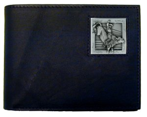Bi-fold Wallet - Bull Rider - Our bi-fold wallet is made of high quality fine grain leather with a Bull Rider emblem sculpted with fine detail on the front panel. Includes slots for credit and business cards and clear plastic photo sleeves.