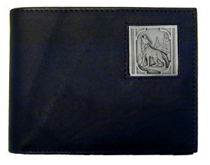 Bi-fold Wallet - Howling Wolf - Our bi-fold wallet is made of high quality fine grain leather with a Howling Wolf emblem sculpted with fine detail on the front panel. Includes slots for credit and business cards and clear plastic photo sleeves.