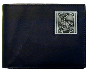 Bi-fold Wallet - Native American on Horse - Our bi-fold wallet is made of high quality fine grain leather with an Native American Indian on Horse emblem sculpted with fine detail on the front panel. Includes slots for credit and business cards and clear plastic photo sleeves.