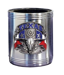 Can Cooler - Texas - Our Texas can cooler features a 3-D emblem depicting pride as big as the Lone Star State. Hand painted 3-D emblem.