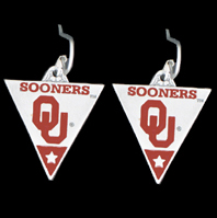 College Dangle Earrings - Oklahoma Sooners - Oklahoma Sooners  college dangle earrings. Check out our entire line of  collegiate merchandise! Thank you for shopping with CrazedOutSports.com