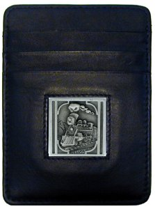 Money Clip/Cardholder - Colorado Train Locomotive - Our Executive Colorado Train Locomotive Money Clip/Card Holder is made of high quality fine grain leather with a sculpted historic Train emblem on the front panel. Features four pockets and a money clip on back.