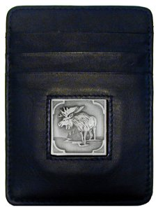 Money Clip/Cardholder - Moose - Our Executive Money Clip/Card Holder is made of high quality fine grain leather with a sculpted Moose emblem on the front panel. Features four pockets and a money clip on back.