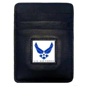 Armed Forces Money Clip/Cardholder - Air Force - Our Executive Money Clip/Card Holder is made of high quality fine grain leather with a sculpted armed forces emblem on the front panel. Features four pockets and a money clip on back.