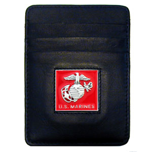 Armed Forces Money Clip/Cardholder - Marines - Our Executive Money Clip/Card Holder is made of high quality fine grain leather with a sculpted armed forces emblem on the front panel. Features four pockets and a money clip on back.