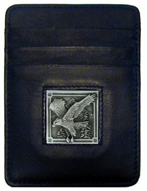 Money Clip/Cardholder - Eagle - Our Executive Money Clip/Card Holder is made of high quality fine grain leather with a sculpted Eagle emblem on the front panel. Features four pockets and a money clip on back.