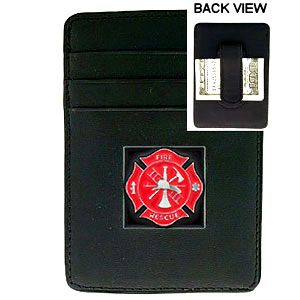 Money Clip/Cardholder - Fire Fighter - Our Executive Money Clip/Card Holder is made of high quality fine grain leather with a sculpted fire fighter emblem on the front panel. Features four pockets and a money clip on back.