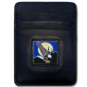 Money Clip/Cardholder - Flying Eagle - Our Executive Money Clip/Card Holder is made of high quality fine grain leather with a sculpted fire fighter emblem on the front panel. Features four pockets and a money clip on back.