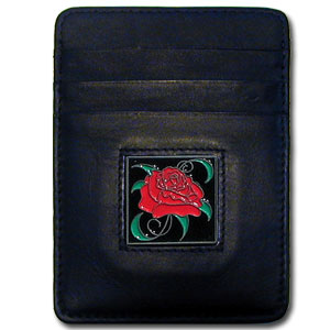 Money Clip/Cardholder - Rose - Our Executive Money Clip/Card Holder is made of high quality fine grain leather with a sculpted fire fighter emblem on the front panel. Features four pockets and a money clip on back.