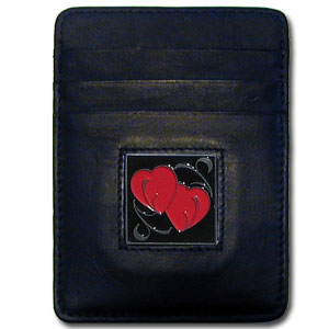 Money Clip/Cardholder - Double Heart - Our Executive Money Clip/Card Holder is made of high quality fine grain leather with a sculpted fire fighter emblem on the front panel. Features four pockets and a money clip on back.