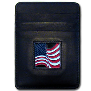 Money Clip/Cardholder - American Flag - Our Executive Money Clip/Card Holder is made of high quality fine grain leather with a sculpted fire fighter emblem on the front panel. Features four pockets and a money clip on back.