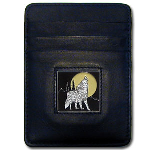 Money Clip/Cardholder - Howling Wolf - Our Executive Money Clip/Card Holder is made of high quality fine grain leather with a sculpted fire fighter emblem on the front panel. Features four pockets and a money clip on back.
