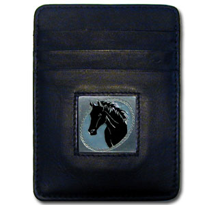 Money Clip/Cardholder - Horse Head - Our Executive Money Clip/Card Holder is made of high quality fine grain leather with a sculpted fire fighter emblem on the front panel. Features four pockets and a money clip on back.