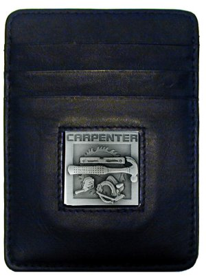 Money Clip/Cardholder - Carpenter - Our Executive Money Clip/Card Holder is made of high quality fine grain leather with a sculpted Carpenter emblem on the front panel. Features four pockets and a money clip on back.