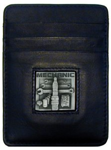 Money Clip/Cardholder - Mechanic - Our Executive Money Clip/Card Holder is made of high quality fine grain leather with a sculpted Mechanic emblem on the front panel. Features four pockets and a money clip on back.