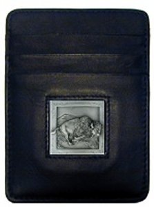 Money Clip/Cardholder - Bison - Our Executive Money Clip/Card Holder is made of high quality fine grain leather with a sculpted Bison emblem on the front panel. Features four pockets and a money clip on back.
