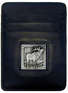 Money Clip/Cardholder - Elk - Our Executive Money Clip/Card Holder is made of high quality fine grain leather with a sculpted Elk emblem on the front panel. Features four pockets and a money clip on back.