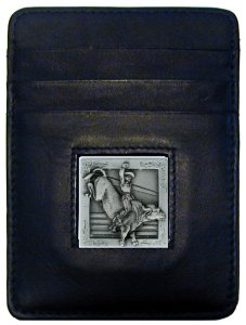 Money Clip/Cardholder - Bull Rider - Our Executive Money Clip/Card Holder is made of high quality fine grain leather with a sculpted Bull Rider emblem on the front panel. Features four pockets and a money clip on back.