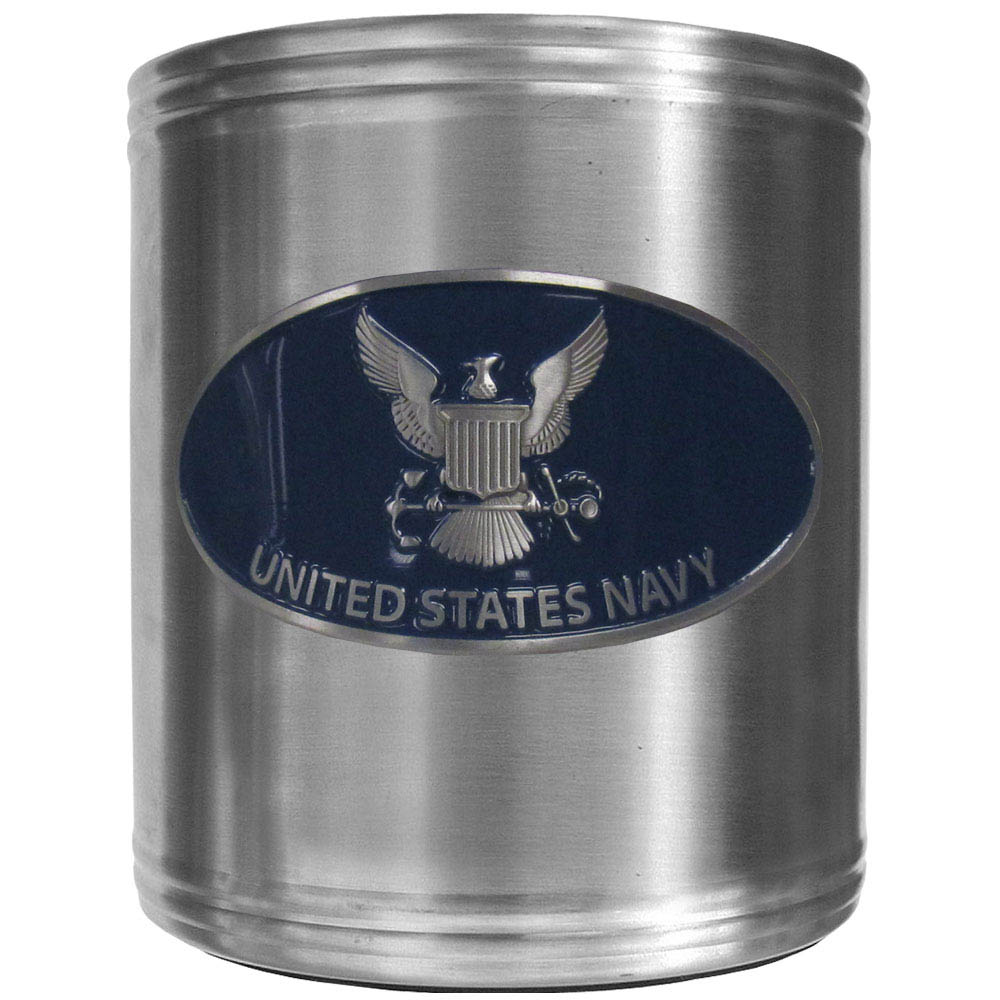 Navy Can Cooler - This insulated steel can cooler is a perfect addition to any tailgating or outdoor event. The cooler features a cast & enameled Navy emblem.