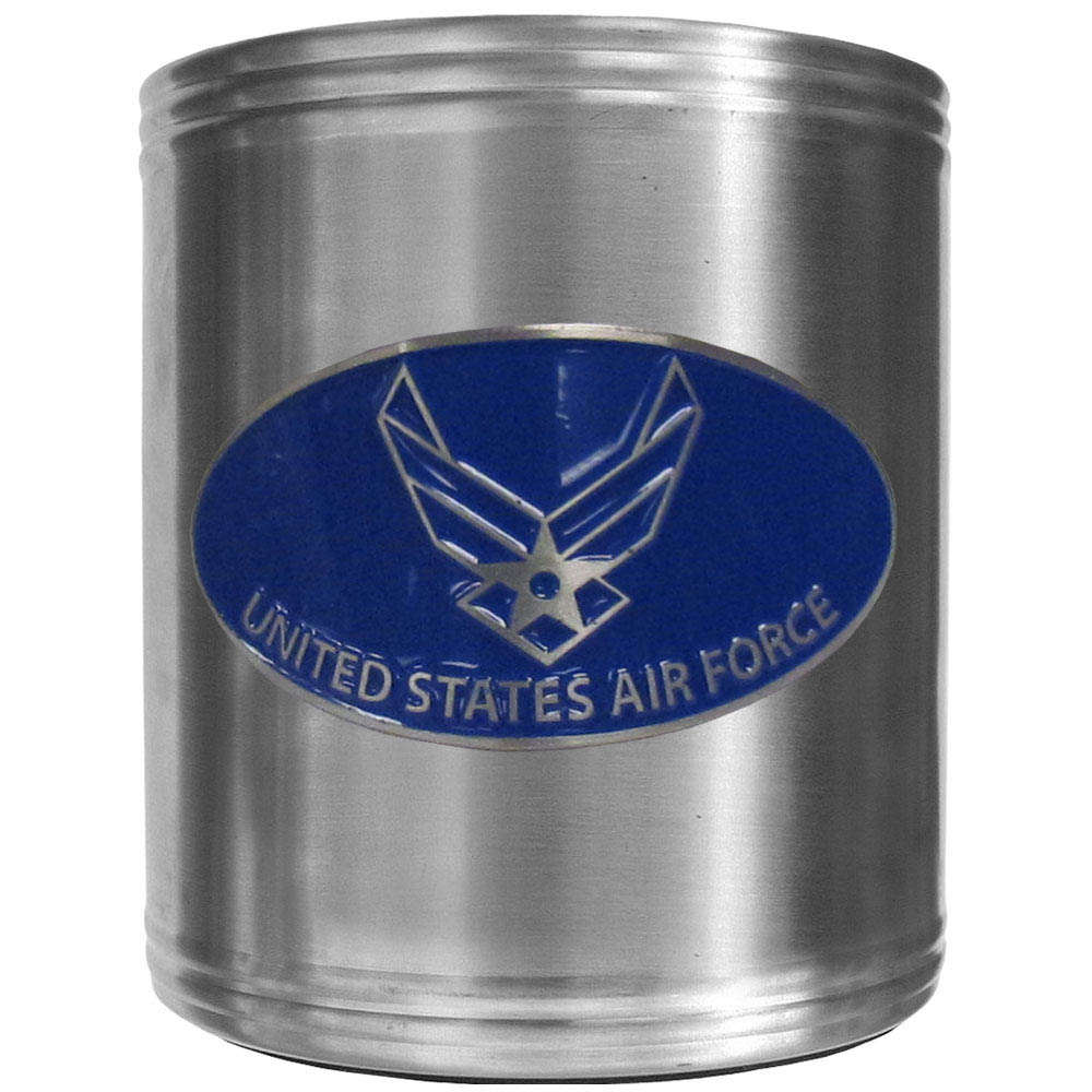 Air Force Can Cooler - This insulated steel can cooler is a perfect addition to any tailgating or outdoor event. The cooler features a cast & enameled Air Force emblem.