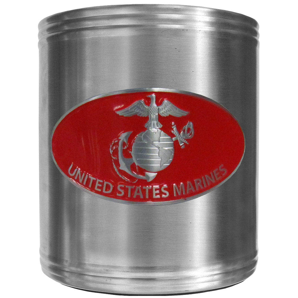 Marines Can Cooler - This insulated steel can cooler is a perfect addition to any tailgating or outdoor event. The cooler features a cast & enameled Marines emblem.