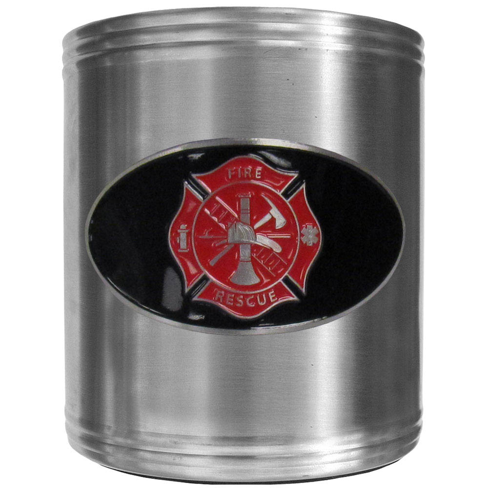 Firefighter Can Cooler - This insulated steel can cooler is a perfect addition to any tailgating or outdoor event. The cooler features a cast & enameled Firefighter emblem.