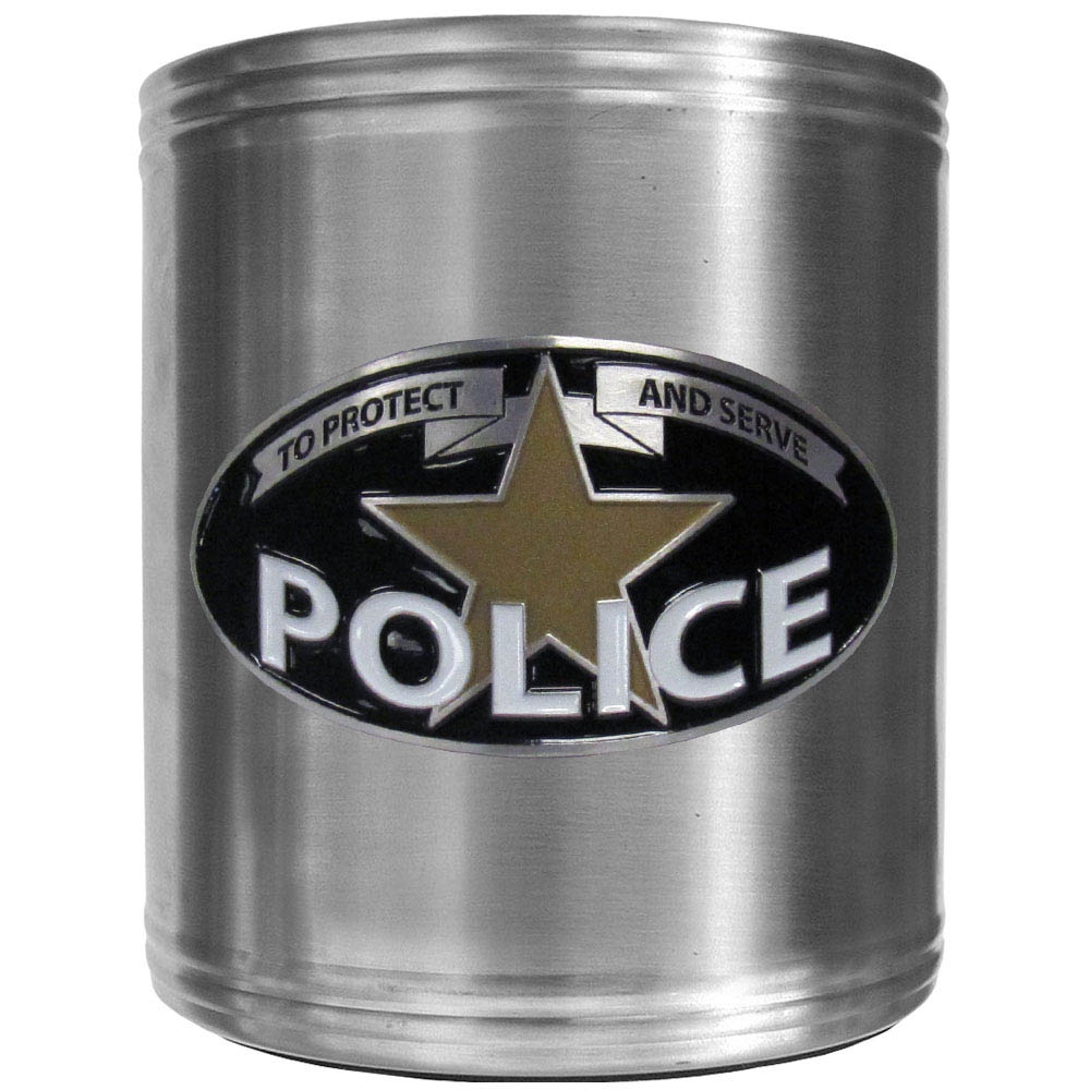 Police Steel Can Cooler - This insulated Police steel can cooler is a perfect addition to any tailgating or outdoor event. The Police Steel Cancooler features a cast & enameled Police emblem.
