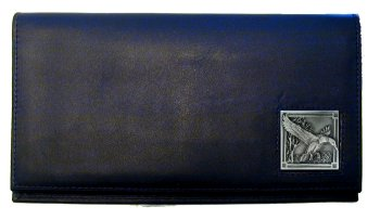 Deluxe Leather Checkbook Cover - Mallard Ducks - Our Deluxe Checkbook Cover is made of high quality leather and includes a card holder, clear ID window, and inside zipper pocket for added storage. Mallard Ducks emblem is sculpted and enameled with fine detail.