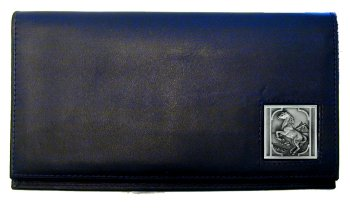 Deluxe Leather Checkbook Cover - Rearing Horse - Our Deluxe Checkbook Cover is made of high quality leather and includes a card holder, clear ID window, and inside zipper pocket for added storage. Rearing Horse emblem is sculpted and enameled with fine detail.