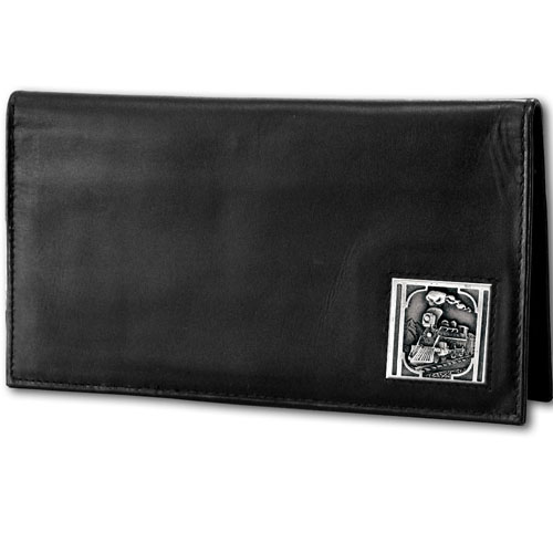 Deluxe Leather Checkbook Cover - Train Locomotive - Our Deluxe  Train Locomotive Checkbook Cover is made of high quality leather and includes a card holder, clear ID window, and inside zipper pocket for added storage. Train emblem is sculpted and enameled with fine detail.