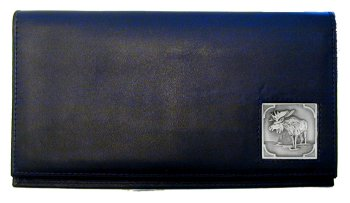 Deluxe Leather Checkbook Cover - Moose - Our Deluxe Checkbook Cover is made of high quality leather and includes a card holder, clear ID window, and inside zipper pocket for added storage. Emblem is sculpted and enameled with fine detail.