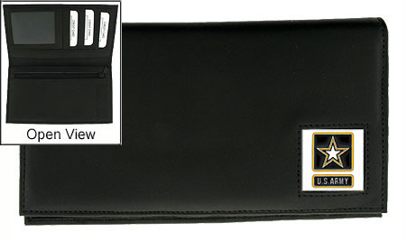 Army Deluxe Checkbook Cover - Our Deluxe Checkbook Cover is made of high quality leather and includes a card holder, clear ID window, and inside zipper pocket for added storage. The Army emblem is sculpted and enameled with fine detail.