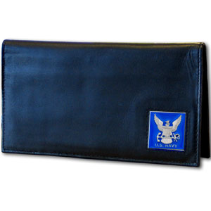 Deluxe Leather Checkbook Cover - Navy - Our Deluxe Checkbook Cover is made of high quality leather and includes a card holder, clear ID window, and inside zipper pocket for added storage. Emblem is sculpted and enameled with fine detail.
