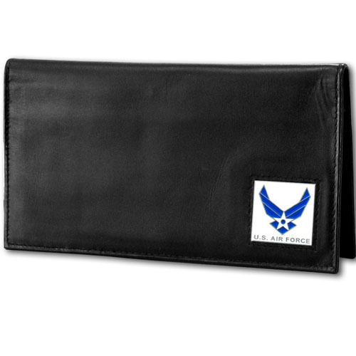 Deluxe Leather Checkbook Cover - Air Force - Our Deluxe Checkbook Cover is made of high quality leather and includes a card holder, clear ID window, and inside zipper pocket for added storage. Emblem is sculpted and enameled with fine detail.
