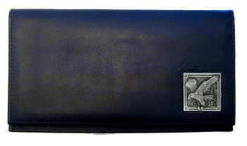Deluxe Leather Checkbook Cover - Eagle - Our Deluxe Checkbook Cover is made of high quality leather and includes a card holder, clear ID window, and inside zipper pocket for added storage. Emblem is sculpted and enameled with fine detail.