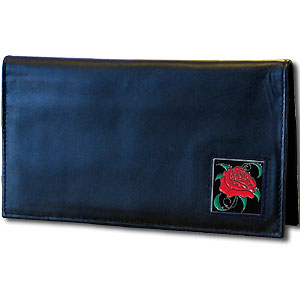 Deluxe Leather Checkbook Cover - Rose - Our Deluxe Checkbook Cover is made of high quality leather and includes a card holder, clear ID window, and inside zipper pocket for added storage. Fire Firefighter emblem is sculpted and enameled with fine detail. Check out our entire line of w