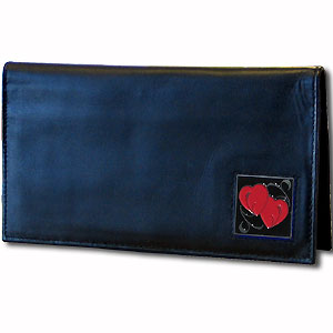 Deluxe Leather Checkbook Cover - Double Heart - Our Deluxe Checkbook Cover is made of high quality leather and includes a card holder, clear ID window, and inside zipper pocket for added storage. Fire Firefighter emblem is sculpted and enameled with fine detail. Check out our entire line of w