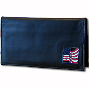Deluxe Leather Checkbook Cover - American Flag - Our Deluxe Checkbook Cover is made of high quality leather and includes a card holder, clear ID window, and inside zipper pocket for added storage. Fire Firefighter emblem is sculpted and enameled with fine detail. Check out our entire line of w