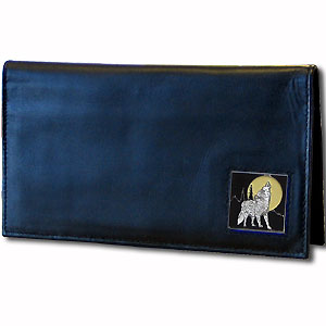 Deluxe Leather Checkbook Cover - Howling Wolf - Our Deluxe Checkbook Cover is made of high quality leather and includes a card holder, clear ID window, and inside zipper pocket for added storage. Fire Firefighter emblem is sculpted and enameled with fine detail. Check out our entire line of w
