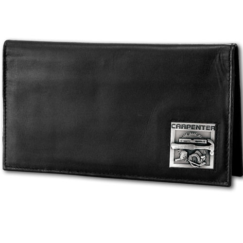 Deluxe Leather Checkbook Cover - Carpenter - Our Deluxe Checkbook Cover is made of high quality leather and includes a card holder, clear ID window, and inside zipper pocket for added storage. Emblem is sculpted and enameled with fine detail.