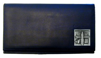 Deluxe Leather Checkbook Cover - Mechanic - Our Deluxe Checkbook Cover is made of high quality leather and includes a card holder, clear ID window, and inside zipper pocket for added storage. Emblem is sculpted and enameled with fine detail.