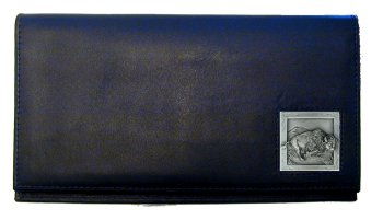 Deluxe Leather Checkbook Cover - Bison - Our Deluxe Checkbook Cover is made of high quality leather and includes a card holder, clear ID window, and inside zipper pocket for added storage. Emblem is sculpted and enameled with fine detail.