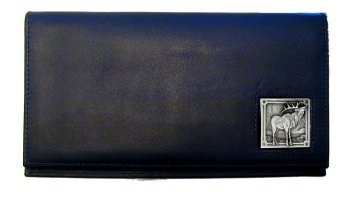 Deluxe Leather Checkbook Cover - Elk - Our Deluxe Checkbook Cover is made of high quality leather and includes a card holder, clear ID window, and inside zipper pocket for added storage. Emblem is sculpted and enameled with fine detail.