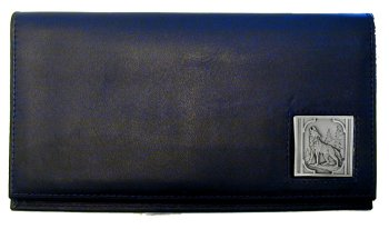 Deluxe Leather Checkbook Cover - Howling Wolf - Our Deluxe Checkbook Cover is made of high quality leather and includes a card holder, clear ID window, and inside zipper pocket for added storage. Emblem is sculpted and enameled with fine detail.