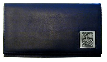 Deluxe Leather Checkbook Cover - Native American on Horse - Our Deluxe Checkbook Cover is made of high quality leather and includes a card holder, clear ID window, and inside zipper pocket for added storage. Emblem is sculpted and enameled with fine detail.