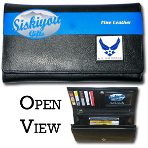 Women's Wallet - US Air Force - This genuine leather women's clutch features 9 credit card slots, a windowed ID slot, spacious front pocket, inner pocket and zippered coin pocket. The front of the pocketbook has a hand painted metal square.